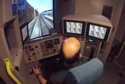 Driver in a train simulator